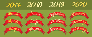 Set red labels with hand-drawn lettering on green background, months names and namber of year. Stock Image