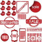 Set of red labels, tags, stamps, stickers Royalty Free Stock Image