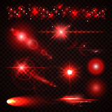 Set of red Light effects, spotlights, flash, stars Royalty Free Stock Images