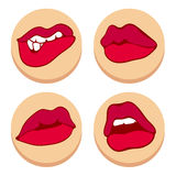 Set of red lips. flat. Set of isolated red lips. Flat design. Vector illustration Stock Photos