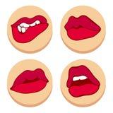 Set of red lips. flat Stock Photos