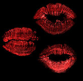 Set of red lips imprint isolated on black Royalty Free Stock Image