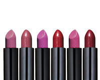 Set of red lipstick. Collection of lipstick on white background Stock Photo