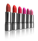 Set of red lipsticks Royalty Free Stock Photo
