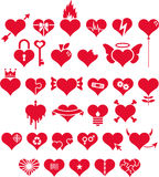 Set of red love hearts Stock Images