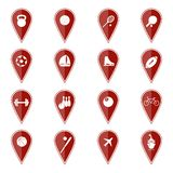 Set of red map pointers with sport icons. Vector Royalty Free Stock Photos