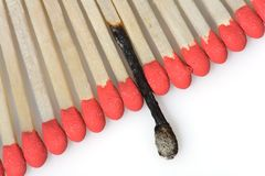 Set of red matches close  up on white background Stock Photography