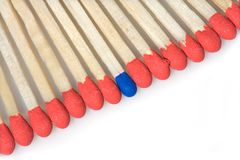 Set of red matches close  up on white background Stock Photo