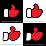 Set of red mitten thumb up icons Stock Images