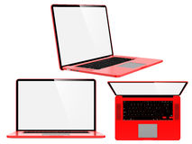 Set of Red Modern Laptops. Stock Photos