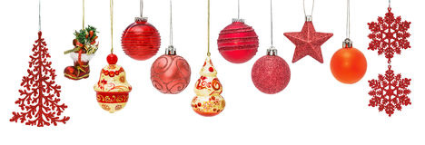 Set of red New Year baubles for Christmas fir-tree ornaments Stock Photos