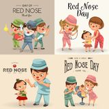 Set red nose day greeting card, medical doctor in hospital with stethoscope helping little patient wear funny clownnose vector illustration