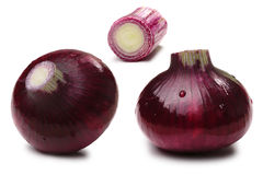 Set of red onion bulbs, paths Royalty Free Stock Images