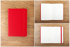 Set of red open and closed notebooks on the table. Stock Images