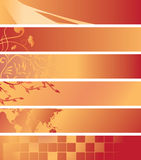 Set - red and orange banners - vector. Set - vector red and orange banners stock illustration