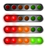 Set of red, orange and green start lights. Contains six bulbs Royalty Free Stock Photography