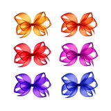 Set of Red Orange Yellow Blue Pink Purple Bows Stock Photos