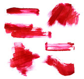 Set of red paint strokes Stock Photos