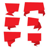 Set of red paper banners. Stock Photos