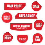 Set of red paper sale stickers Royalty Free Stock Photos