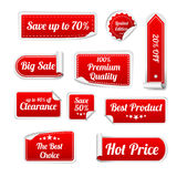 Set Of red paper SALE stickers. Round, square and Royalty Free Stock Photography