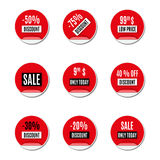 Set of red paper stickers of discount and sale, vector illustration. Set of red paper stickers discount and sale, isolated on white background. Design elements Royalty Free Stock Images