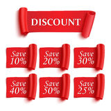 Set of red paper stickers Royalty Free Stock Photo