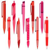 Set of red pens on a white background Stock Images