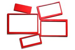 Set of red photo frames Stock Photography
