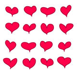 Set of 16 red pink calligraphic handdrawn hearts.  stock illustration