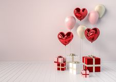 Set of red and pink glossy 3d realistic balloons in heart shape with stick. Valentine`s Day or wedding day romantic background. For party, events, presentation Stock Photos