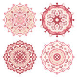 Set of red and pink mandalas. Vector illustration Stock Photography