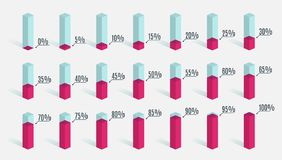 Set of red pink percentage charts for infographics, 0 5 10 15 20 25 30 35 40 45 50 55 60 65 70 75 80 85 90 95 100. Percent Vector Illustration