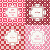 Set of red, pink romantic seamless pattern with. Hearts. Collection of wrapping paper. Vector illustration. Background. Valentines day. Vintage frames. Cards Stock Photography