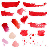 Set with Red and pink watercolor splashes, spots, dots and strip Stock Images