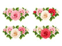 Set of red, pink and white roses. Vector illustration. Stock Photography