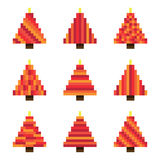 Set red pixel Christmas trees in vector Royalty Free Stock Photography