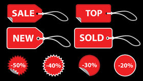 Set of red price tags. Set of red sale price tags. The text can be easily modified. See my portfolio for more stickers vector illustration