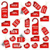 Set of red price tags and labels Stock Image