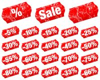 Set Of Red Price Tags Sale Minus Divided With Scratches royalty free illustration