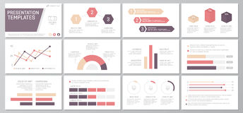 Set of red and purple elements for multipurpose presentation template slides with graphs and charts. Leaflet, corporate. Vector template for multipurpose Stock Photos