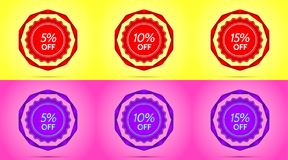 Set of Red and Purple Sale Badges. Vector Badge with Offer of Discount 5 10 15 Percent Off, surrounded by Twisted Ribbon, on the Yellow and Pink Background royalty free illustration