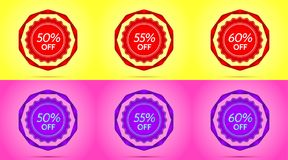 Set of Red and Purple Sale Badges. Vector Badge with Offer of Discount 50 55 60 Percent Off, surrounded by Twisted Ribbon, on the Yellow and Pink Background royalty free illustration