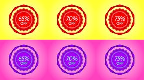 Set of Red and Purple Sale Badges. Vector Badge with Offer of Discount 65 70 75 Percent Off, surrounded by Twisted Ribbon, on the Yellow and Pink Background Royalty Free Stock Photo