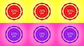 Set of Red and Purple Sale Badges. Vector Badge with Offer of Discount 20 25 30 Percent Off, surrounded by Twisted Ribbon, on the Yellow and Pink Background Royalty Free Stock Photo
