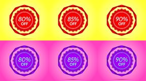 Set of Red and Purple Sale Badges. Vector Badge with Offer of Discount 80 85 90 Percent Off, surrounded by Twisted Ribbon, on the Yellow and Pink Background Stock Image