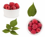 Set of red raspberries with leaves. Raspberries in a bowl isolated on white background. Vegetarian or healthy eating. Juicy and de. Licious raspberry with copy Stock Photo