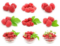 Set of red raspberry fruits with green leafs Stock Photo