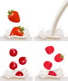 Set with red raspberry, strawberry and cherry Royalty Free Stock Photography