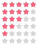 Set of red rating stars Royalty Free Stock Images